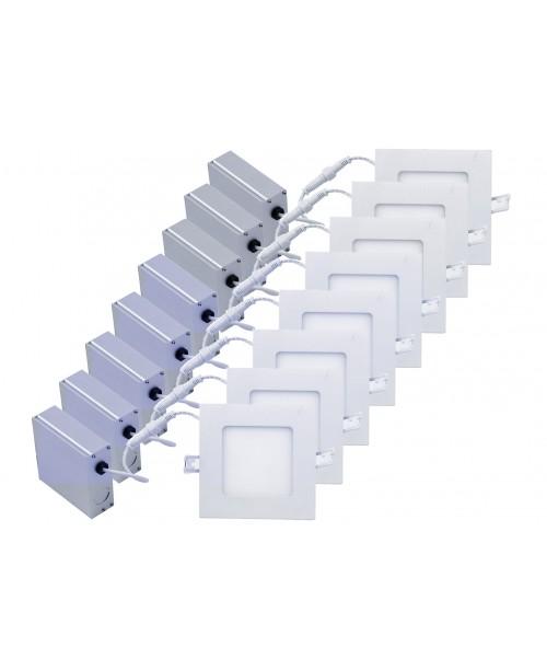 """POINSETTIA  SERIES 4"""" SLIM PANEL LED SQURE PANEL LIGHT DIMMABLE 9W  3000K/5000K (8 Pack )"""