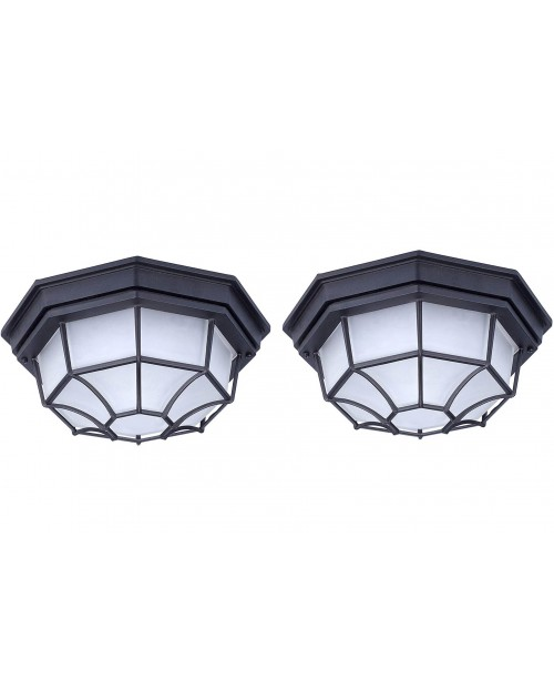 LED CEILING FIXTURE BLACK ALUMINUM HOUSING FROSTED GLASS 9 W DOB 3000K (2 Pack )