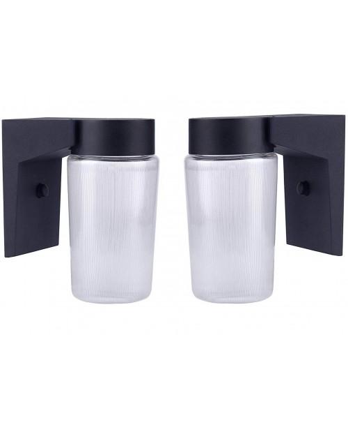 LED CYLINDER PORCH FIXTURE BLACK CAST ALUMINUM HOUSING WHITE ACRYLIC LENS 9 W (2 Pack )