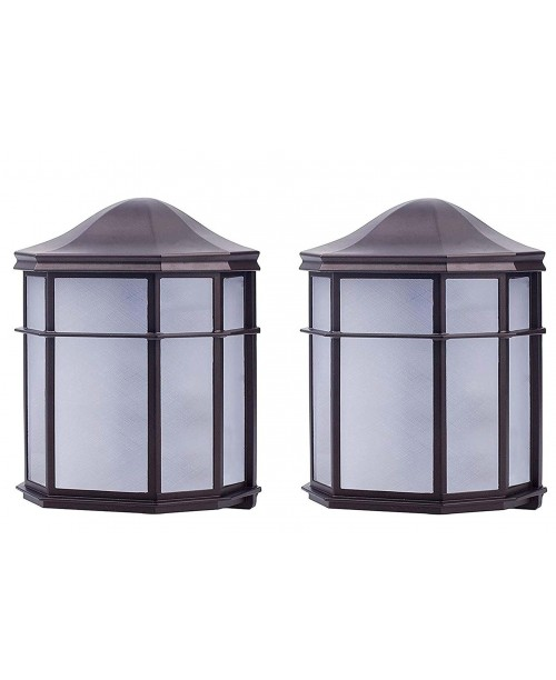 LED MISSION WALL LANTERN BLACK ALUMINUM HOUSING FROSTED ACRYLIC LENS 9 W (2 Pack)