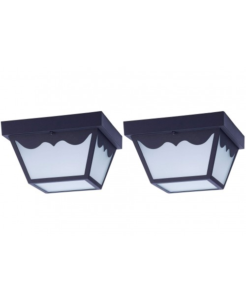 LED OUTDOOR PORCH CEILING LIGHT FIXTURE BLACK STEEL HOUSING FROSTED GLASS LENS (2 Pack)