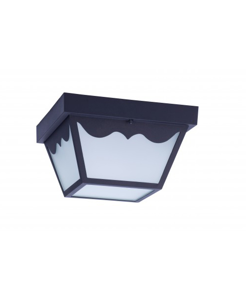 LED OUTDOOR PORCH CEILING LIGHT FIXTURE BLACK STEEL HOUSING FROSTED GLASS LENS