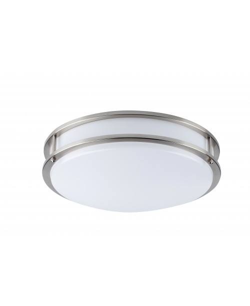 "16""STAIN NICKEL LED CEILING DOUBLE RING FLUSH MOUNT LAMP DIMMABLE 1750 LUMENS  25W 4000K"